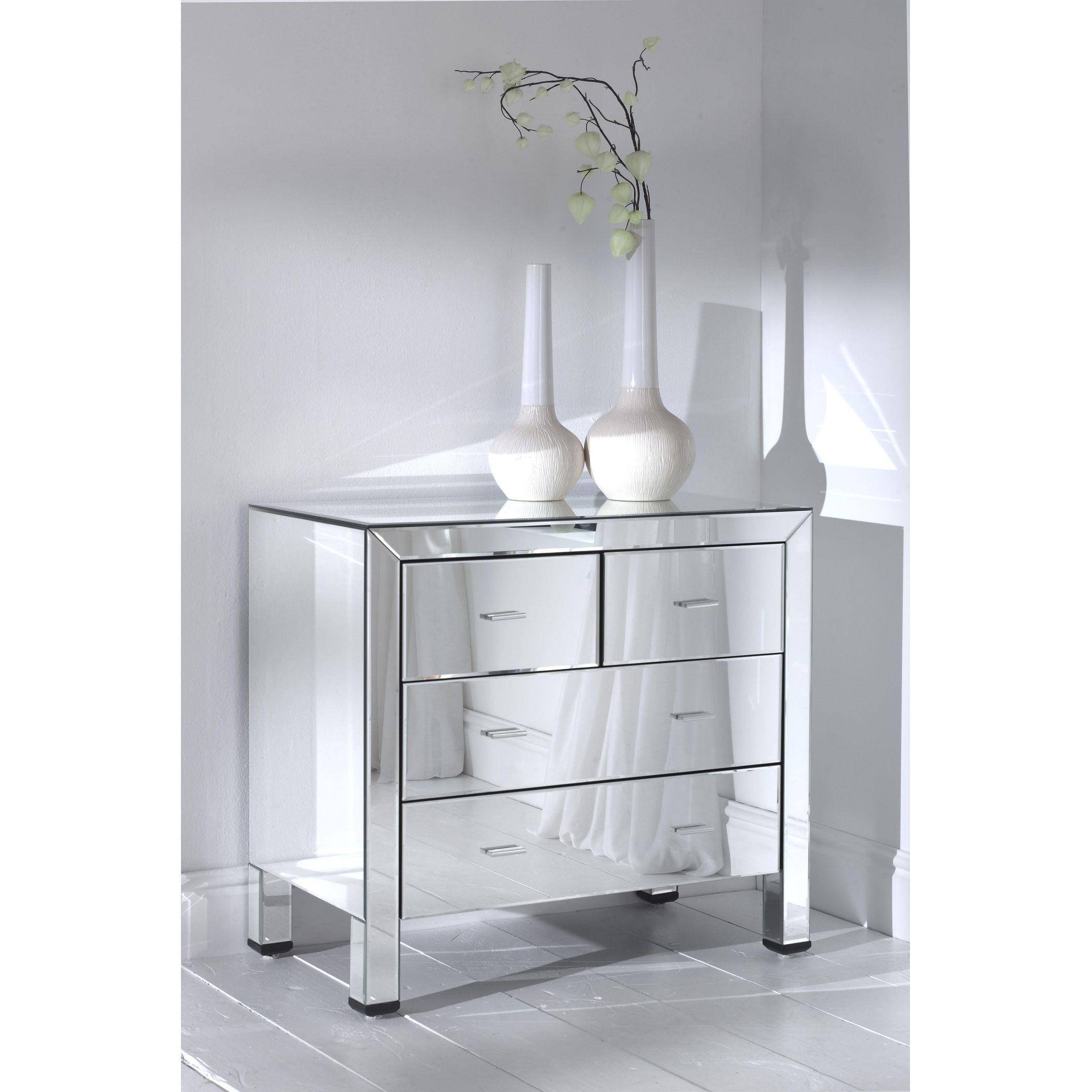 romano mirrored chest 4 drawer