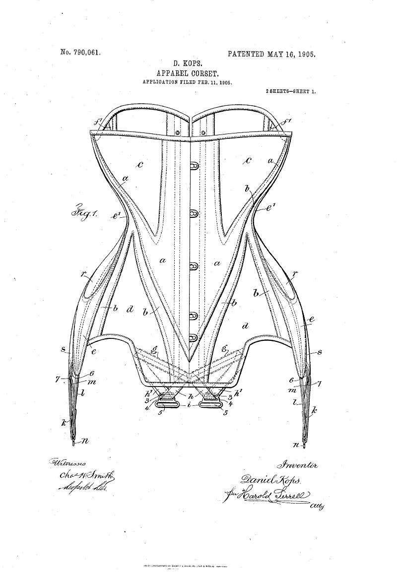 Corset Patent (1905) NO 790061 D Kops Apparel corset