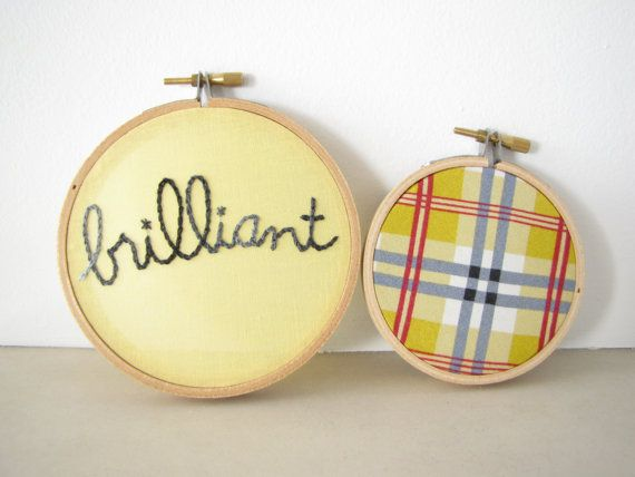Embroidery Hoop Wall Art Set of Two - \