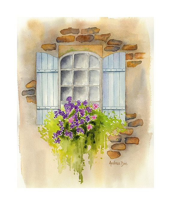 Watercolor Painting Window Flower Box 8x10 Print Wall Art