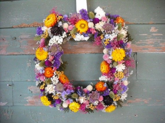 Square colorful spring dried flower garden wreath.