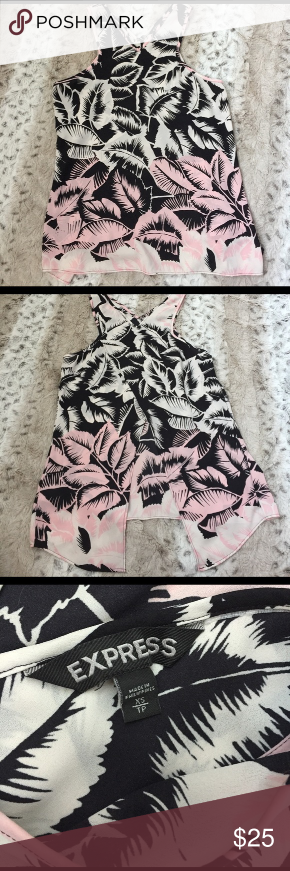 Express palm print split back tank Pink, cream, and black palm printed tank top. Split back to show a little skin. From Express size XS. Perfect condition! Express Tops Tank Tops