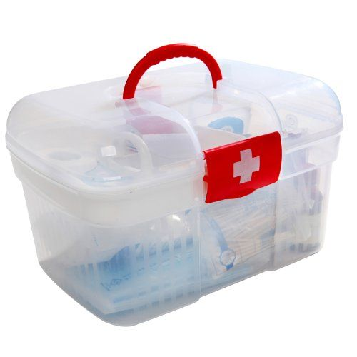Red First Aid Clear Container Bin Family Emergency Kit Storage Box W Detachable Tray Mygift Family Emergency Kit Medication Storage Emergency Kit