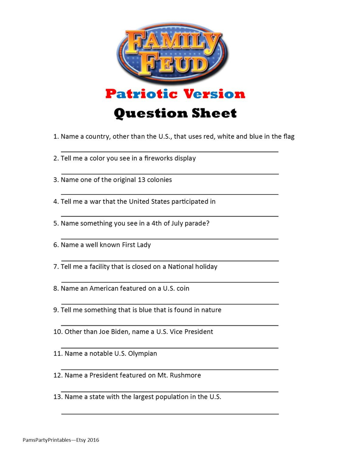 printable patriotic family feud game question sheet | patriotic, Powerpoint templates