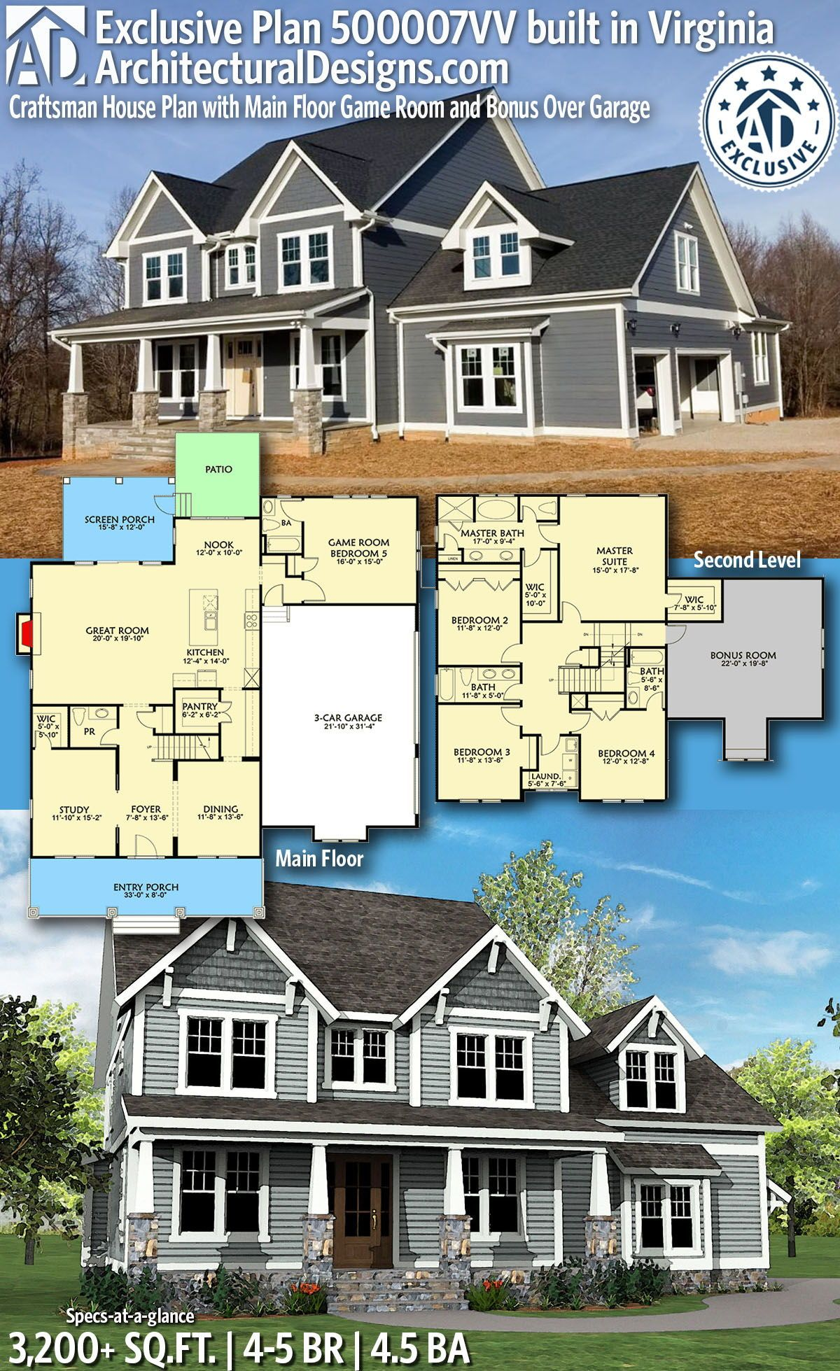 Photo of Plan 500007VV: Craftsman House Plan with Main Floor Game Room and Bonus Over Garage