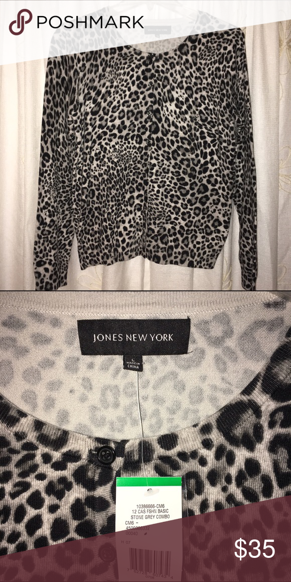 4aa3e4d2a149 BNWT Jones New York Snow Leopard Cardigan So stunning and chic! Gorgeous  black and white