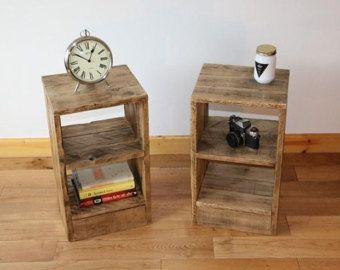 Mesita de noche r stica mesita de noche hecha de la madera - Mesitas de noche recicladas ...