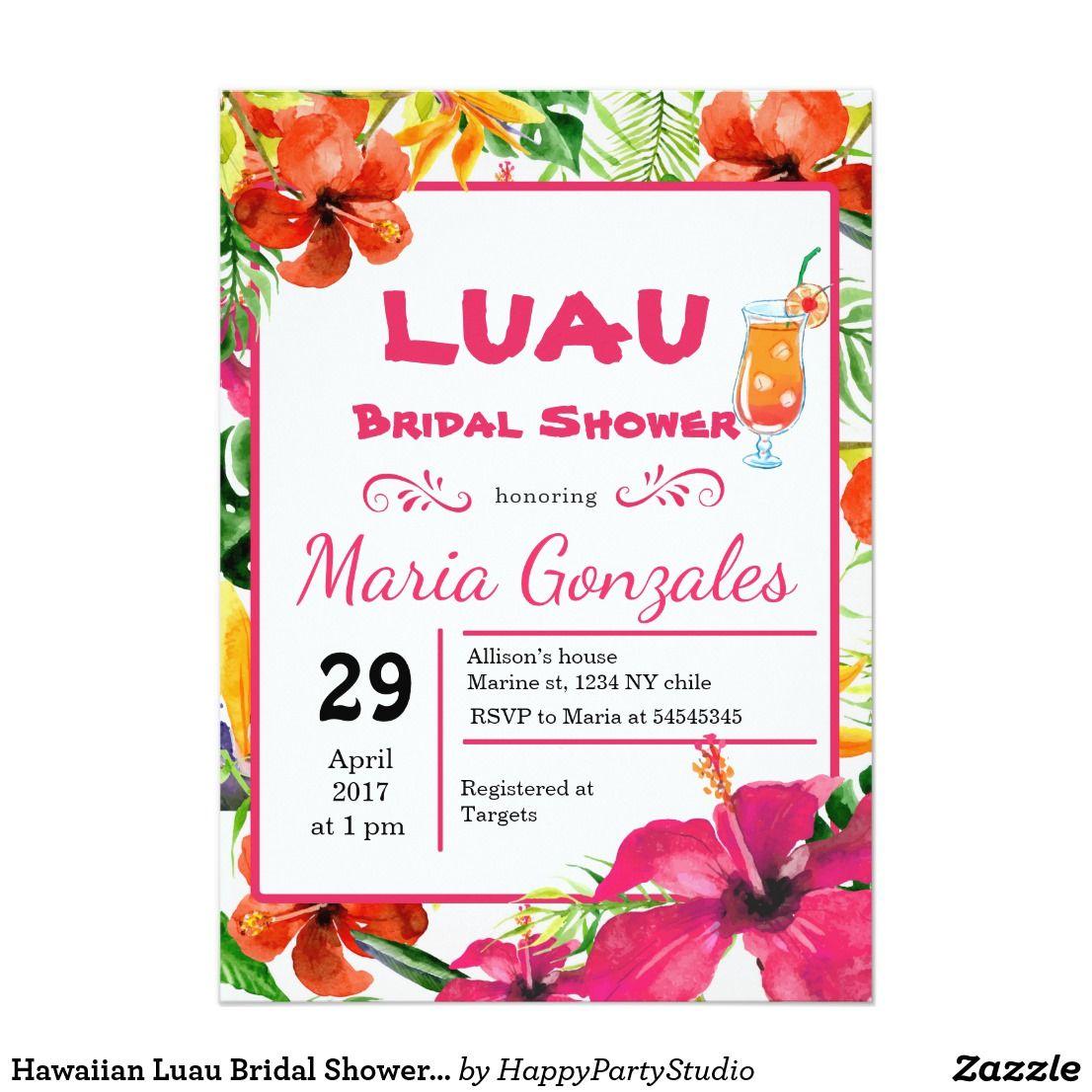 Hawaiian luau bridal shower invitation fun baby hawaiian luau and hawaiian luau bridal shower invitation filmwisefo