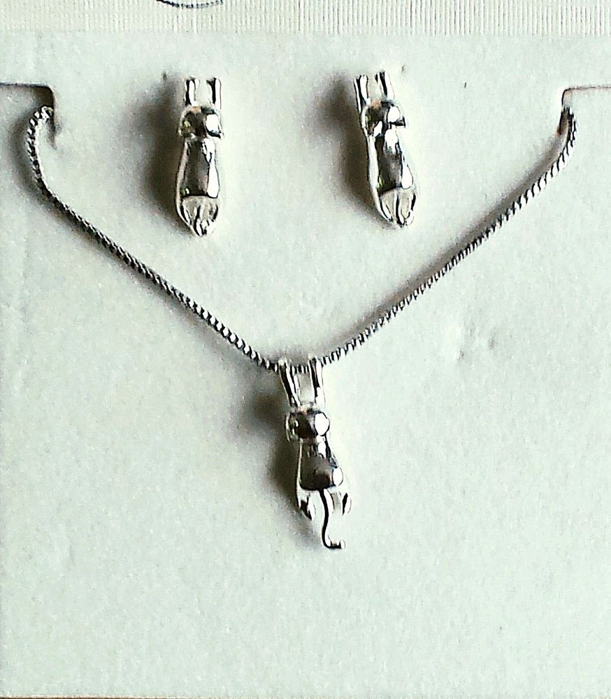CAT Necklace & Earrings Jewelry Set Solid 925 Sterling Silver 3D ...