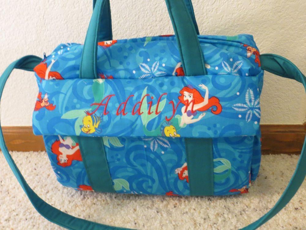 Little Mermaid Custom Emijane Handmade Diaper Bag W Changing Pad Free Embroid Diaswis Tote