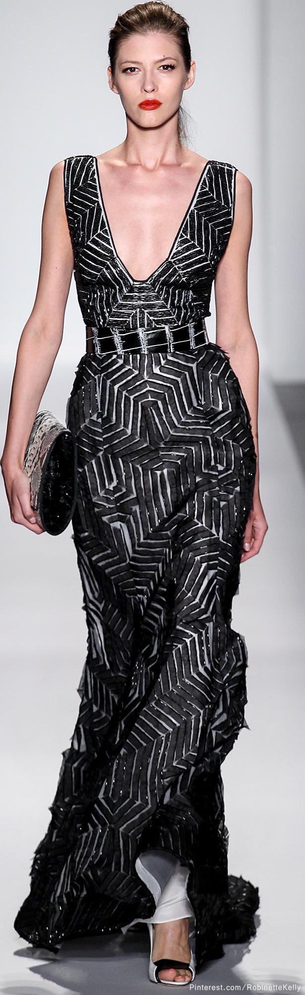 Dennis Basso Spring 2014 Graphic Maxi Dress