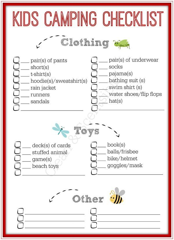 Kids Camping Checklist  Camping Checklist Camping And Rv Camping