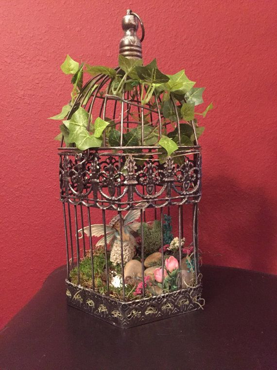 Fairy Garden Hanging Birdcage Adorable by ADragonflyCreation