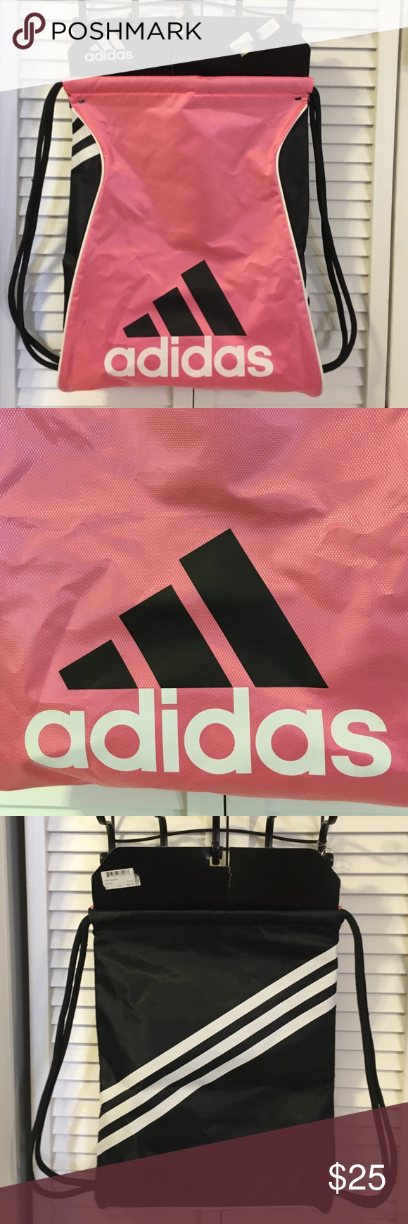 Adidas burst sack pack Brand new Nylon coated canvas bag in pink zest colors 18x14 Adidas Bags Backpacks