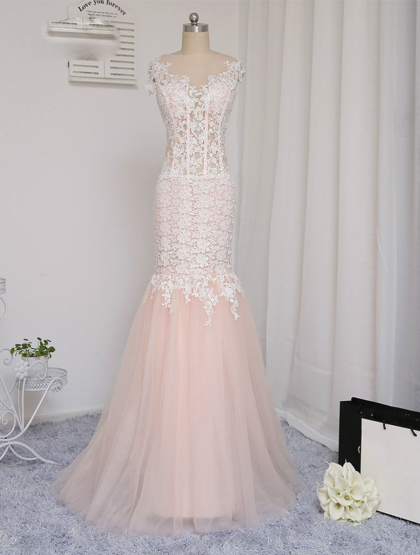 prom dresses mermaid see through tulle appliques lace long prom