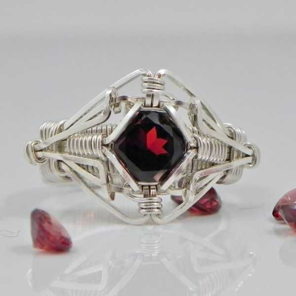 Garnet Ring of the Elements Garnet Argentium Sterling Silver Wire Wrap Ring