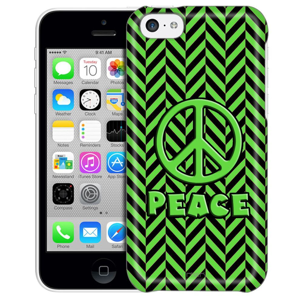 Apple iPhone 5C Peace on Chevron Mini Green Black Case