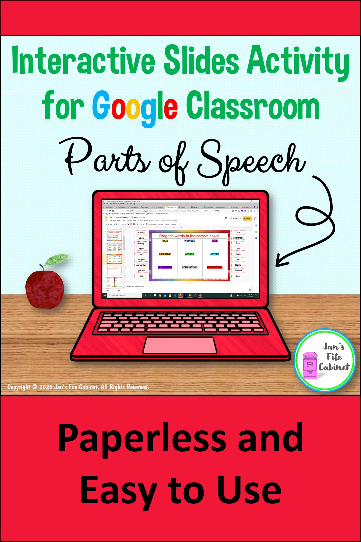 Parts Of Speech Interactive Activity For Google Parts Of Speech Google Lessons Google Classroom Teachers