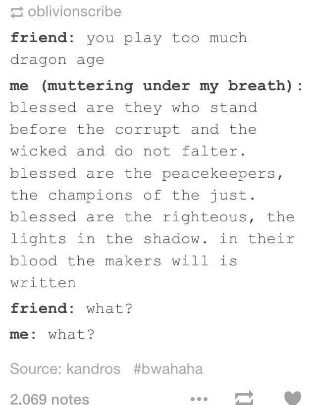 Dragon Age  I Know This Prayer Off By Heart  DonT Judge Me