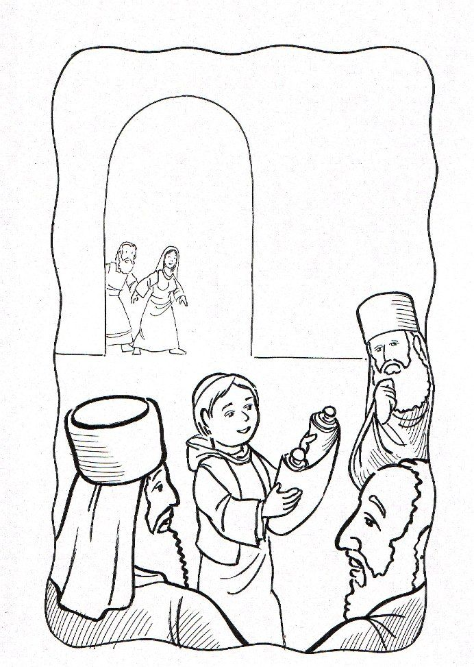 Luke Jesus At The Temple Mary Joseph Find In Coloring Page