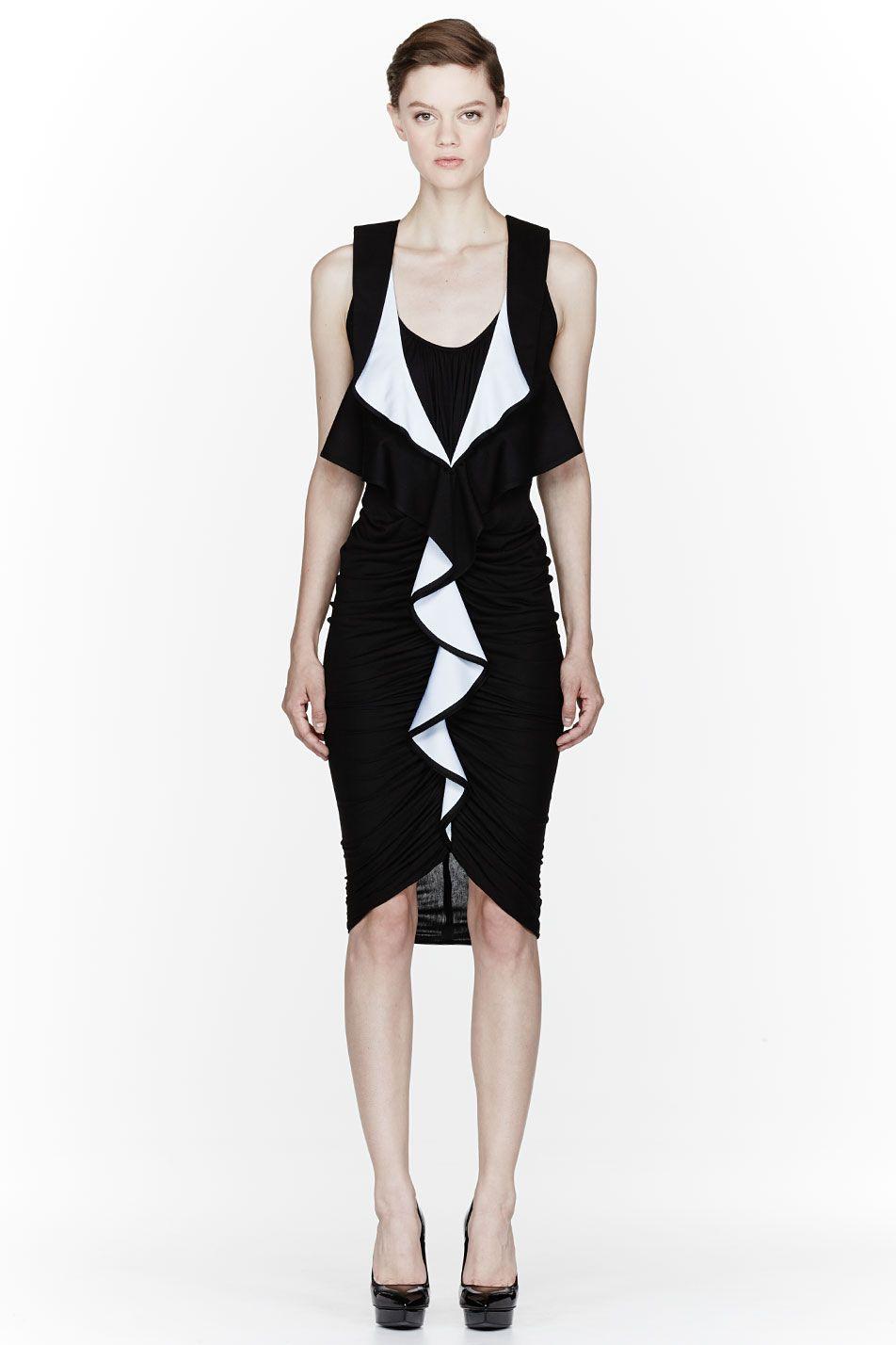 GIVENCHY Black ruffled Punto Milano Dress