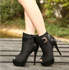 Peep toe Buckle Design High Heel Black Booties