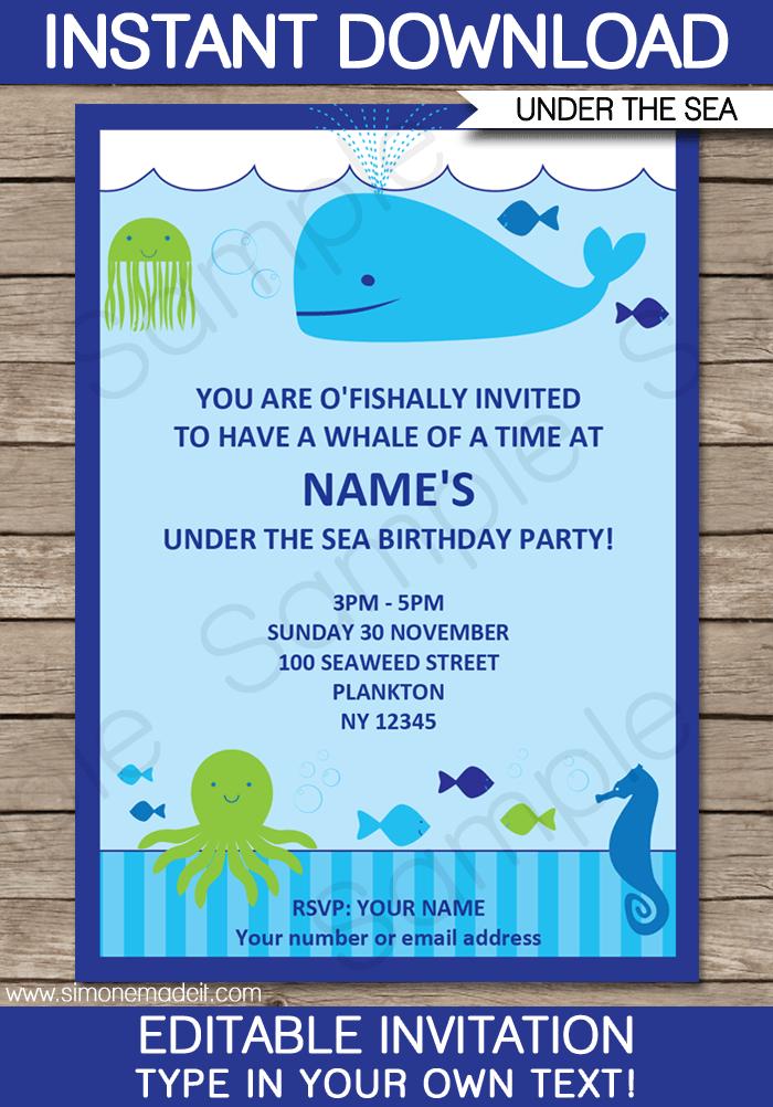 sea party invitations birthday party