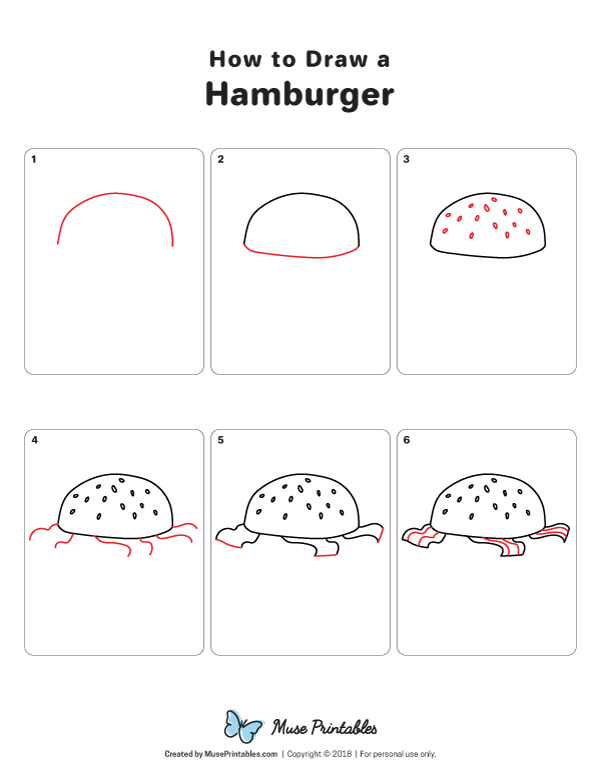 Learn How To Draw A Hamburger Step By Step Download A Printable Version Of This Tutorial At Https Museprintables Com Download Draw Drawings Drawing Tutorial