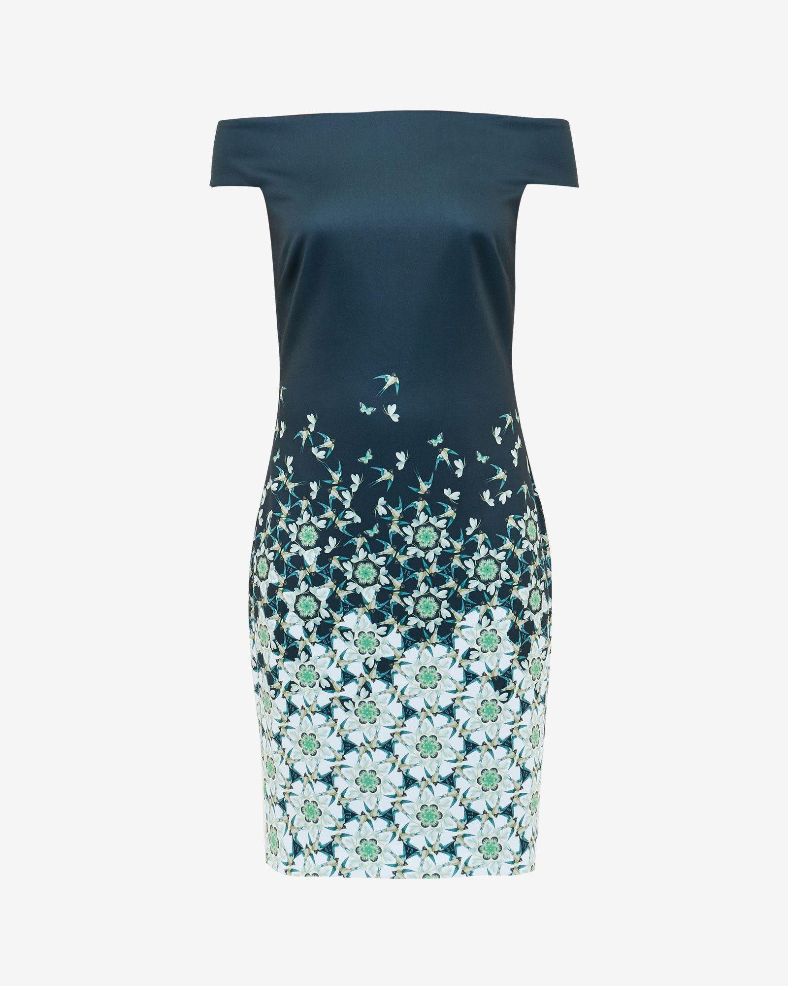 Kaleidoscope Swallow Bardot dress - Dark Blue   Dresses   Ted Baker ...