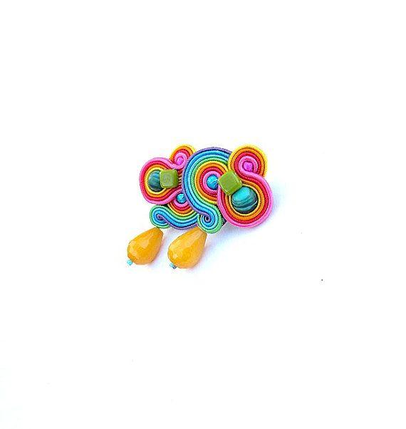 Fancy Swirls Rainbow Clip-on Earrings Fancy by StudioGianna