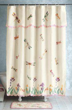 Amazon Com Floral Dragonfly Bathroom Shower Curtain W Valance By