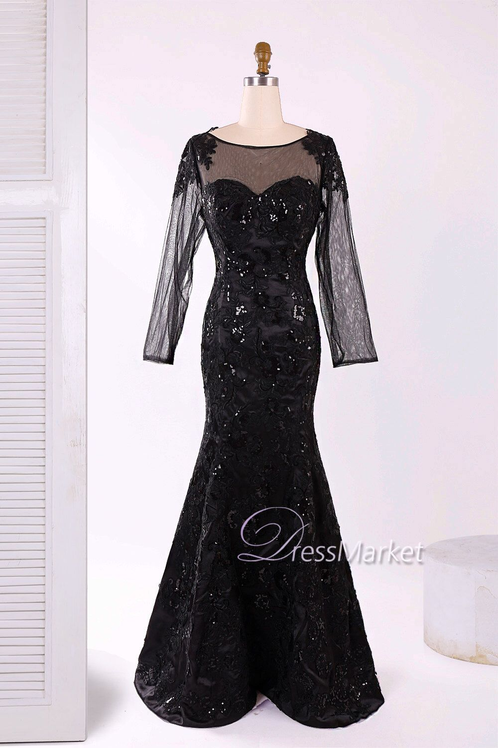 Black tulle and lace long sleeves jewel sweetheart long mother of