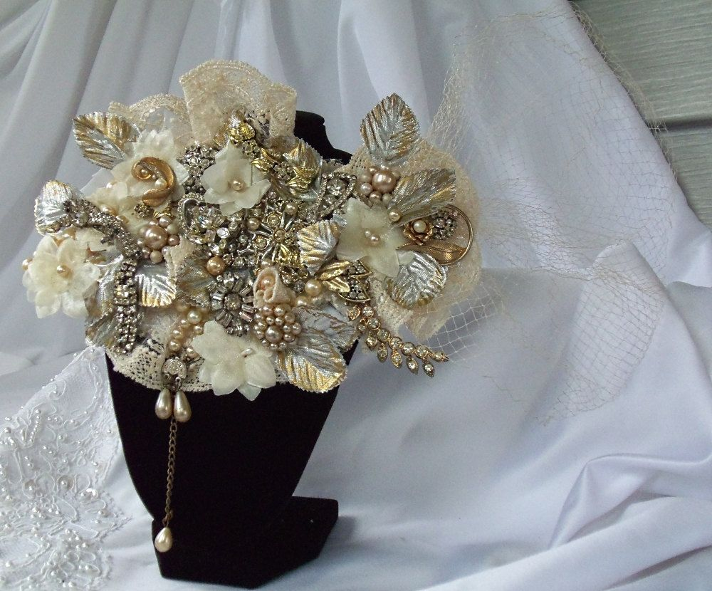 Bridal head piece, made to order facinator, Vintage Haute Couture,  OOAK Victorian Upcycle, La Marelle Couture design. $247.00, via Etsy.