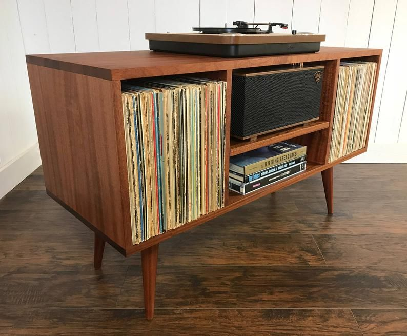 Solid Mahogany Turntable And Stereo Console With Album Etsy Vinyl Storage Furniture Decor