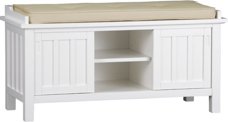 Brighton White Storage Bench With Natural Cushion In Benches Crate And Barrel White Storage Bench Storage Bench Entryway Bench Storage