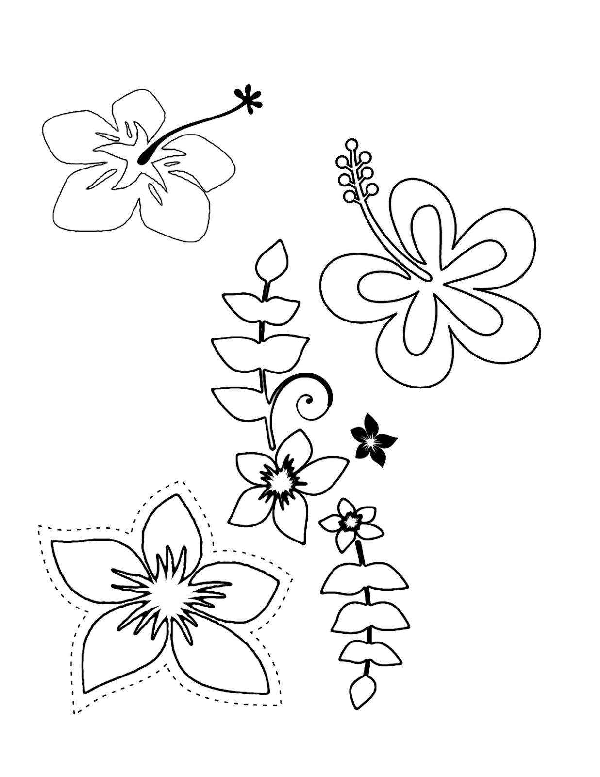 Tropical Flower Coloring Pages Flower Coloring Pages Flower Printable Hawaiian Flower Drawing