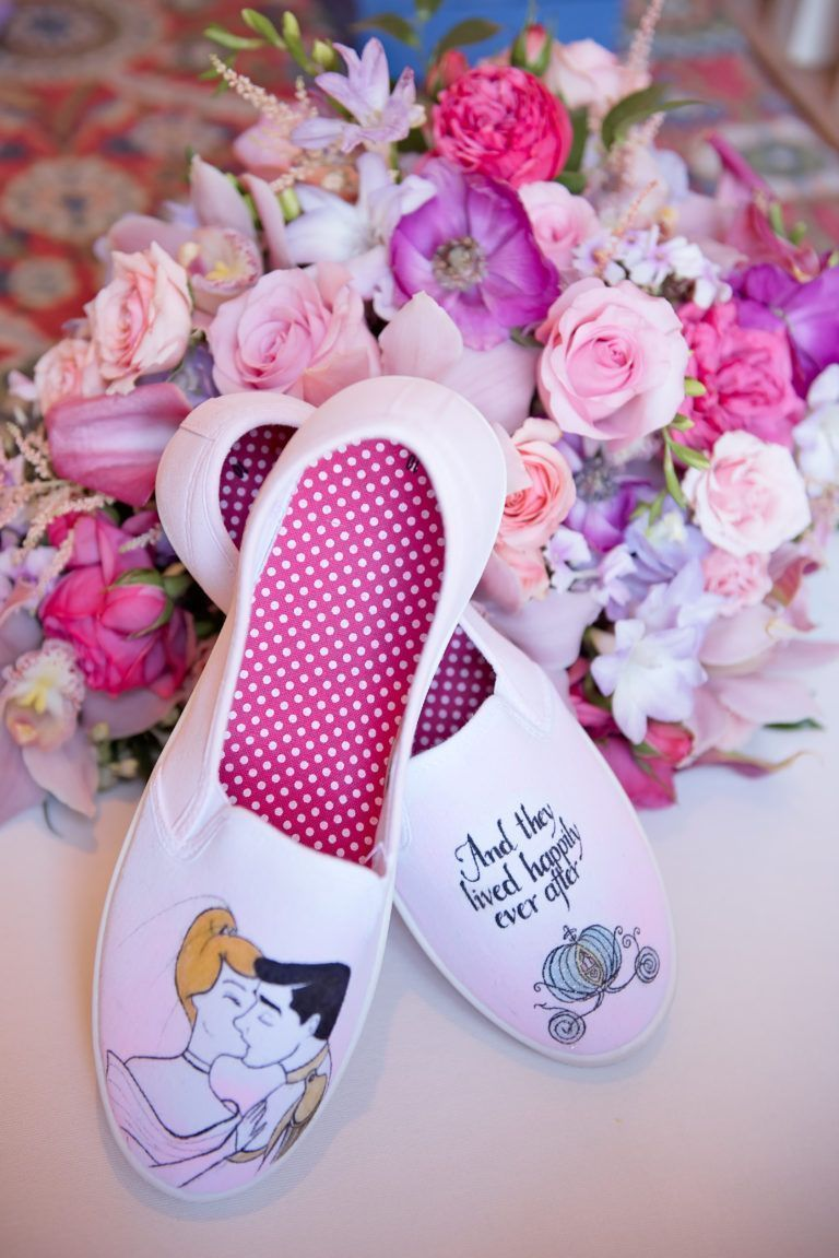Cinderella themed wedding shoes taken on top of a stunning