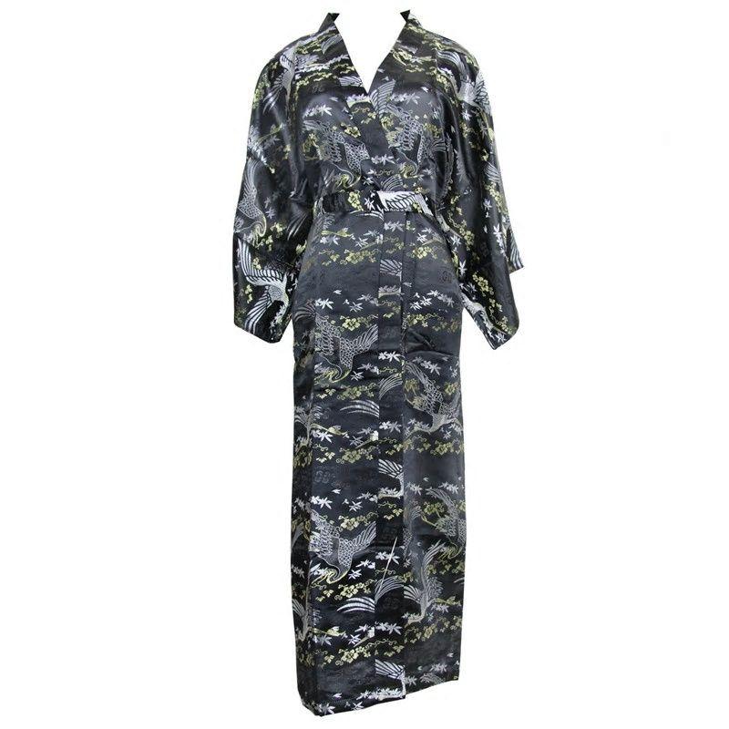 Vintage Black Women Nightwear Kimono Robe Gown Chinese Lady Casual Long  Nightgown Sleepwear Satin Bathrobe Nightwear One Size 6be935f2e