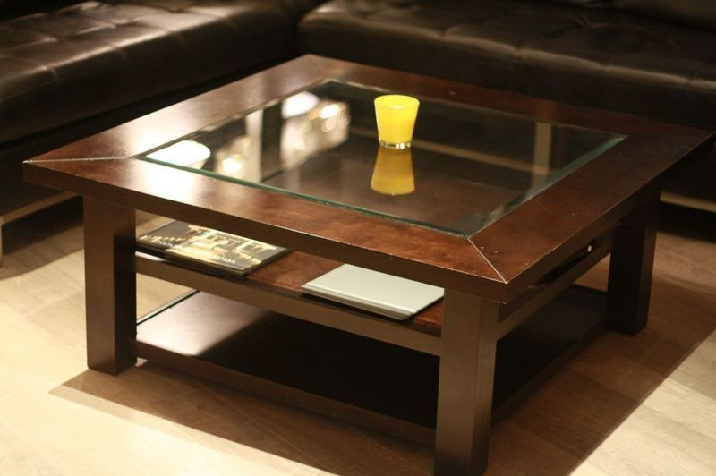 square wood coffee table with glass