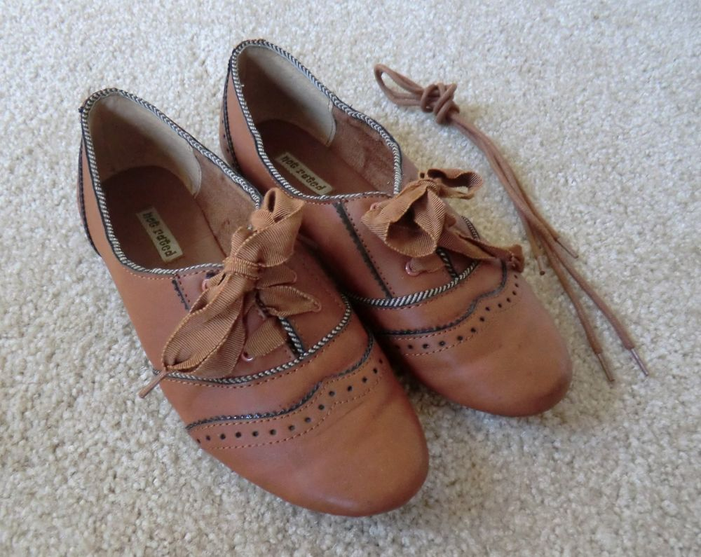 Not Rated Brown Cognac Tan Brandy Lace Oxford Flats Size 6.5 DSW  NotRated   Oxfords 5ca71fd220af