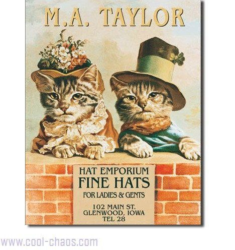 Victorian Cats Sign Cat Signs Wall Signs Decorative Signs