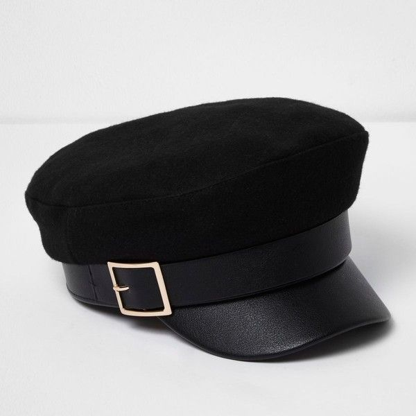 a8e2366e9c340 Black gold buckle baker boy hat ( 31) ❤ liked on Polyvore featuring  accessories
