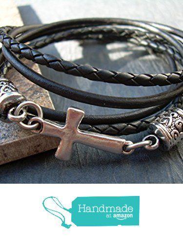Leather Bracelet Cross Bracelet Cross Religious Gift Mens