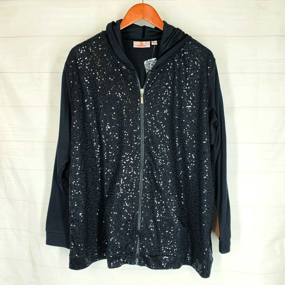 Quacker Factory Plus Size 2X Black Sequin Hoodie Top Zip