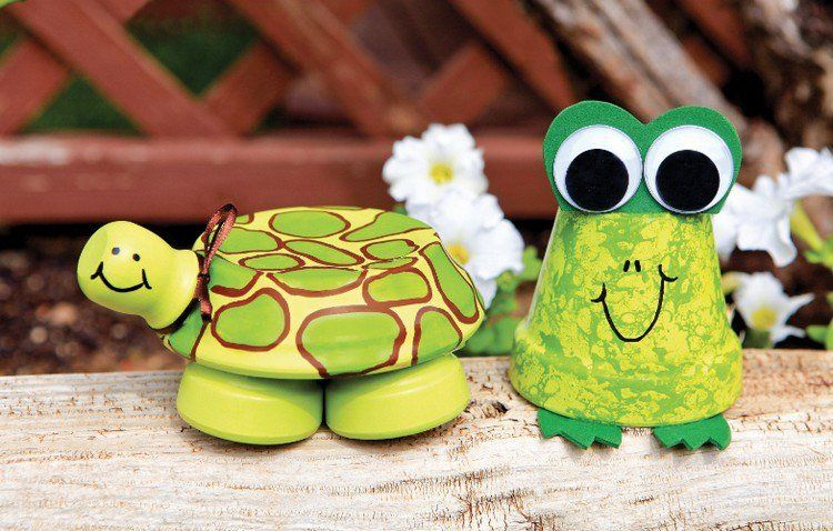 d co de jardin en pots en terre cuite grenouille et tortue crafts pinterest clay. Black Bedroom Furniture Sets. Home Design Ideas