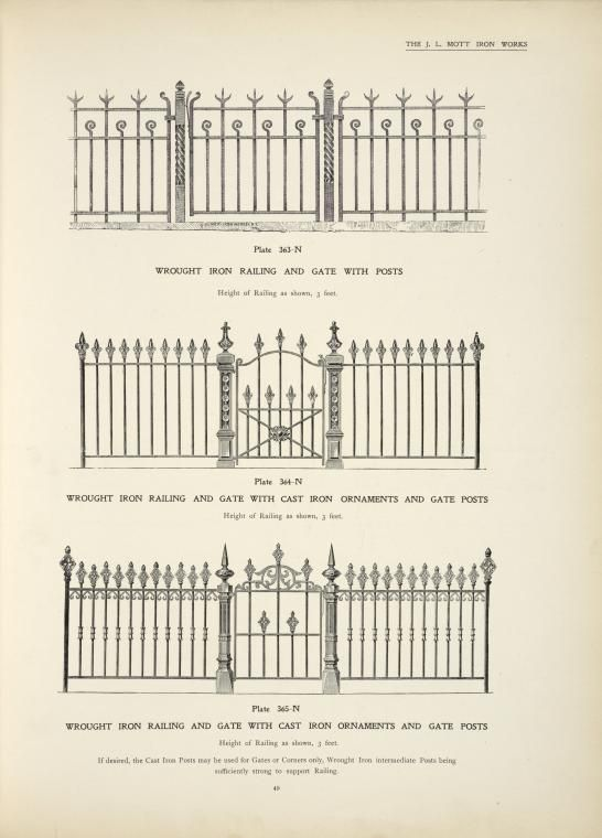 Wrough Iron Railing And Gate With Posts Plate 363 N Wrought Iron Railing And Gate With Cast I Wrought Iron Railing Wrought Iron Gate Designs Iron Railing