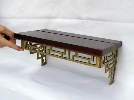 Pair of Wood and Brass Chinoiserie Hollywood Regency Asian Style