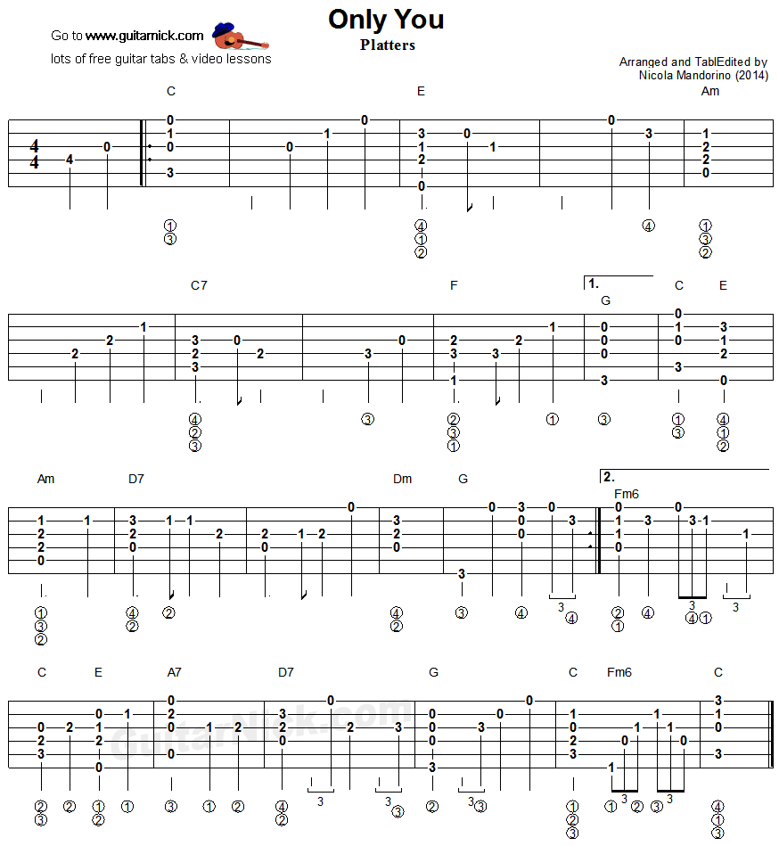 Guitar Chord Tabs: Only You - Fingerstyle Guitar Tablature
