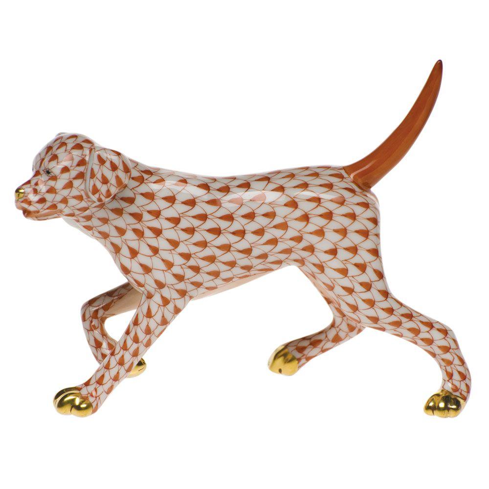 """Herend Kangaroo Hand Painted Porcelain Figurine In Pink: Herend Hand Painted Porcelain Figurine """"Labrador Retriever"""