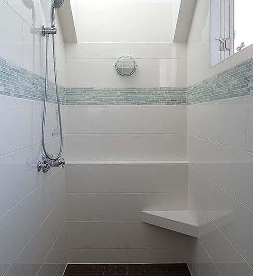 Flooring Designs White Shower Rectangular Wall Tile Gives Awesome Looks For Your Guest Bathroom Travertine Design